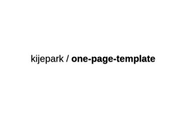 Kijepark/one-page-template