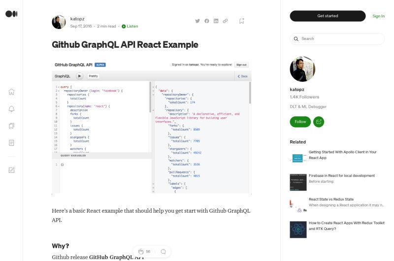 Github GraphQL API React Example