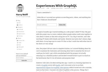 Harry Wolf: Experiences With GraphQL