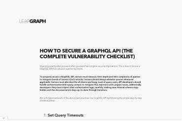 How To Secure A GraphQL API (The Complete Vulnerability Checklist)