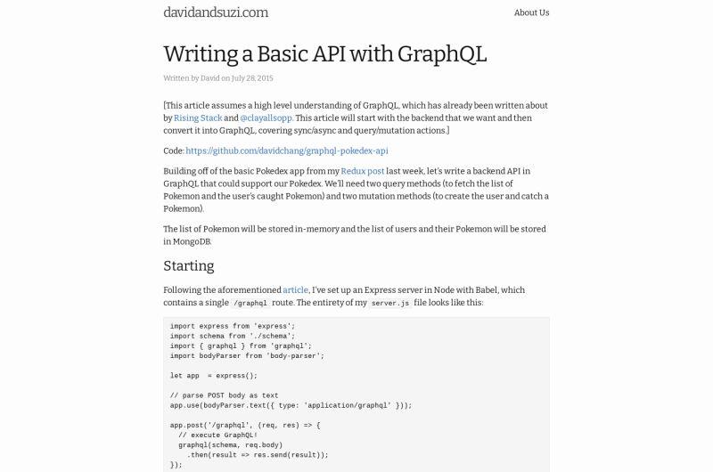 Writing A Basic API With GraphQL