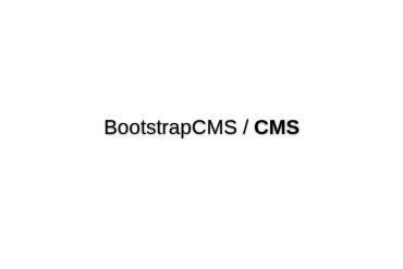 BootstrapCMS