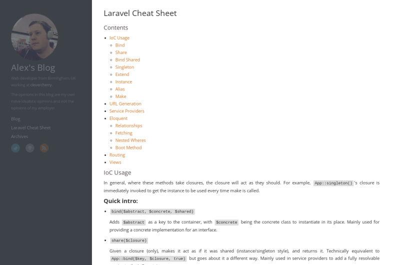 Laravel Cheat Sheet
