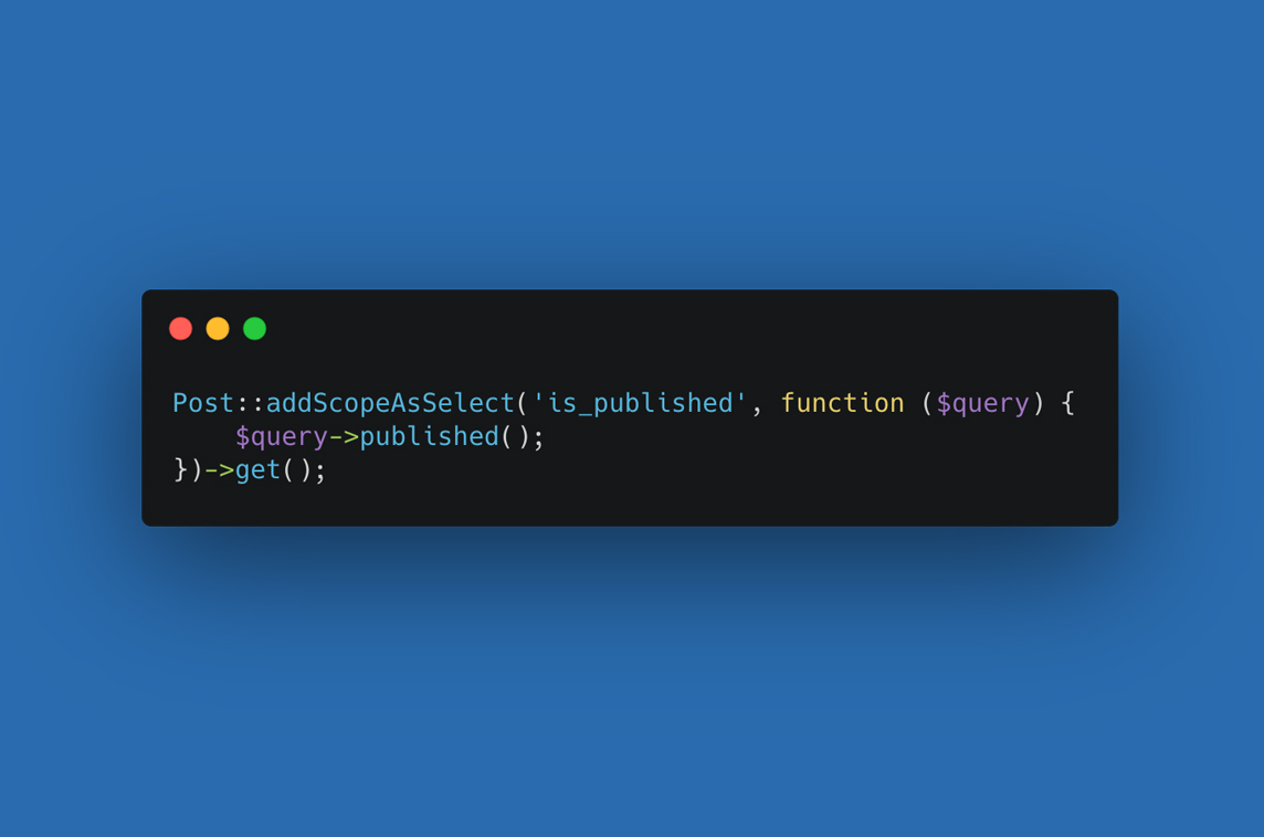 Laravel Eloquent Scope As Select