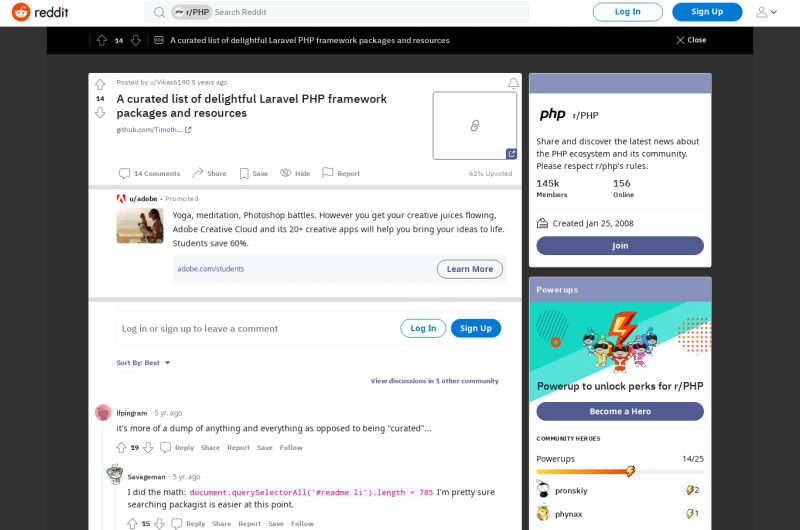 We Made The Front Page Of PHP Reddit! Thanks!