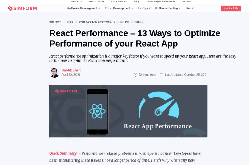A Definitive Guide To Optimize Major Performance Issues In React