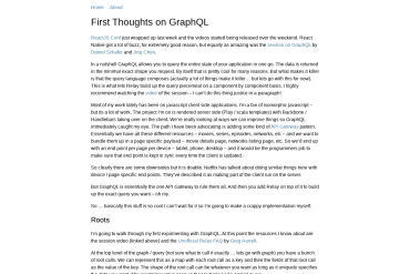 First Thoughts On GraphQL