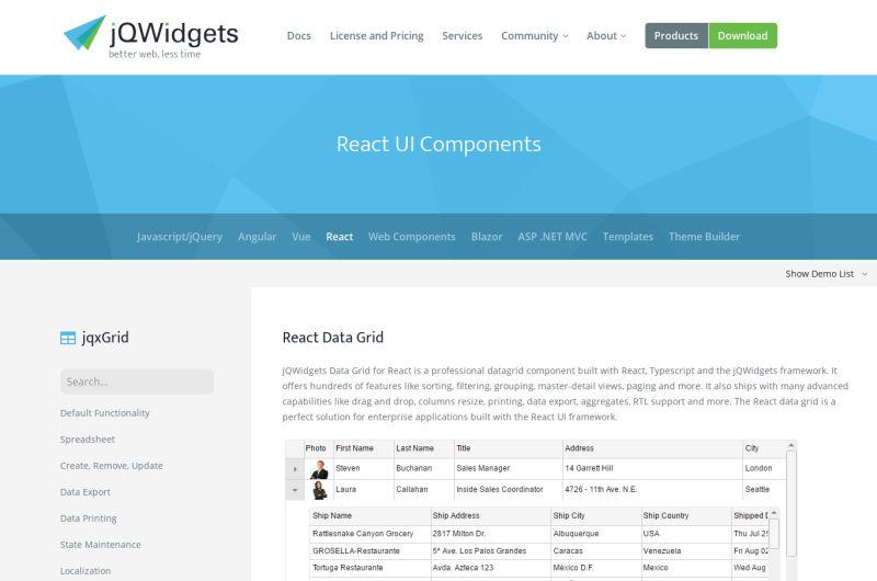 Jqwidgets-react-grid