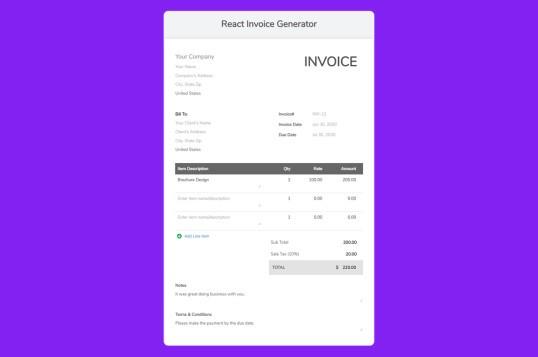React Invoice Generator
