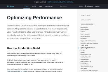 React Optimizing Performance