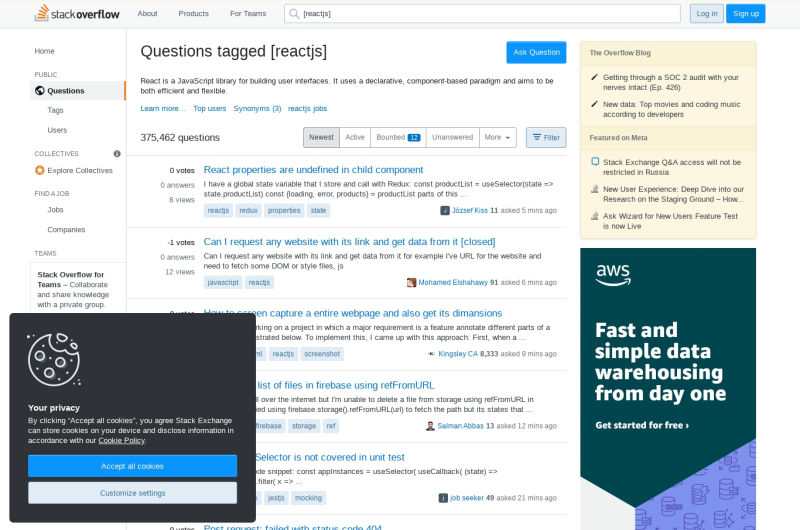 React StackOverflow