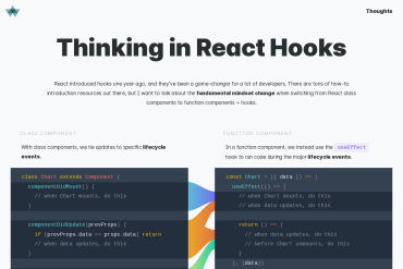 Thinking In React Hooks