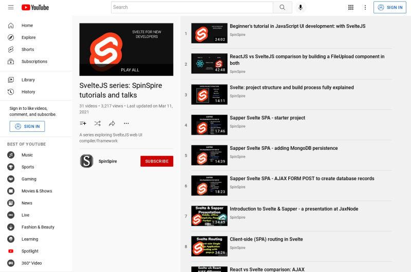 SvelteJS Series - Tutorials And Talks