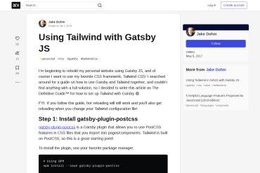 Tailwind CSS With GatsbyJS