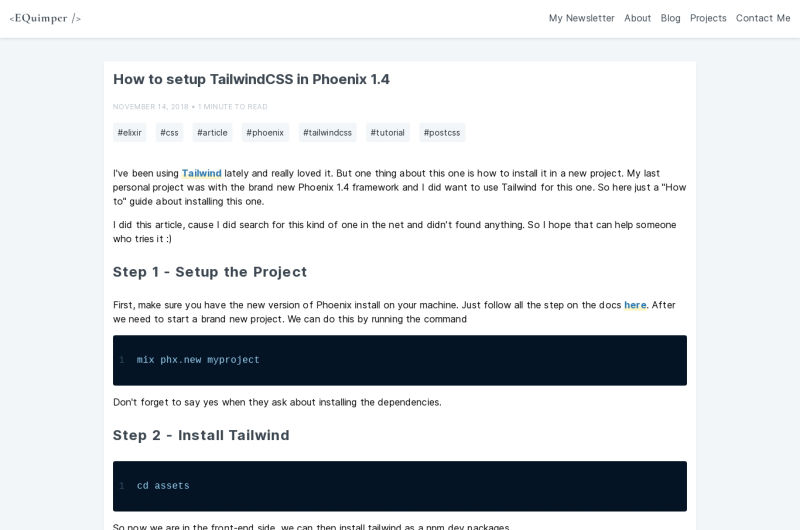 Tailwind CSS With Phoenix 1.4