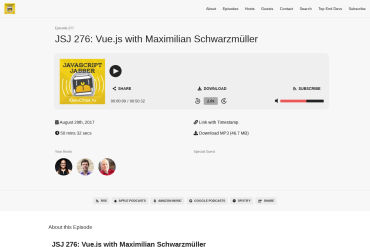 JavaScript Jabber #276 With Maximilian Schwarzmüller (08-29-2017)