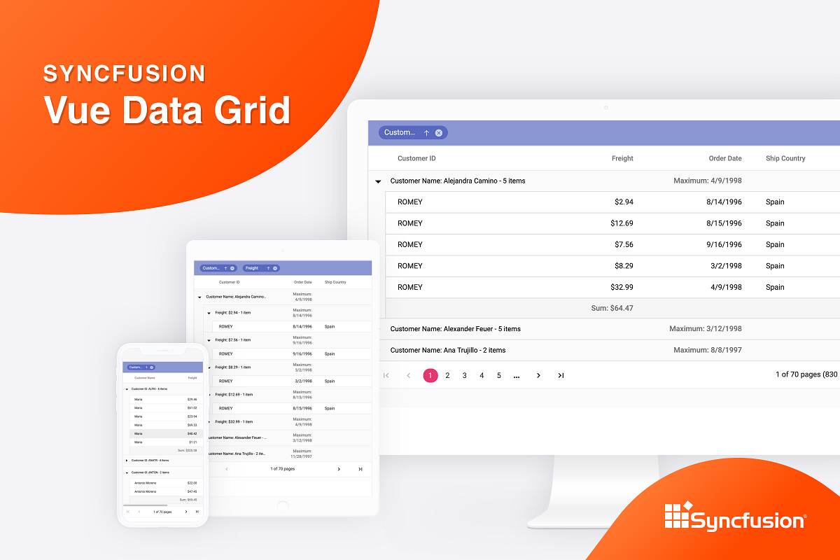 Syncfusion Vue Data Grid