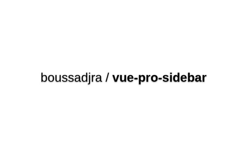 Vue Pro Sidebar