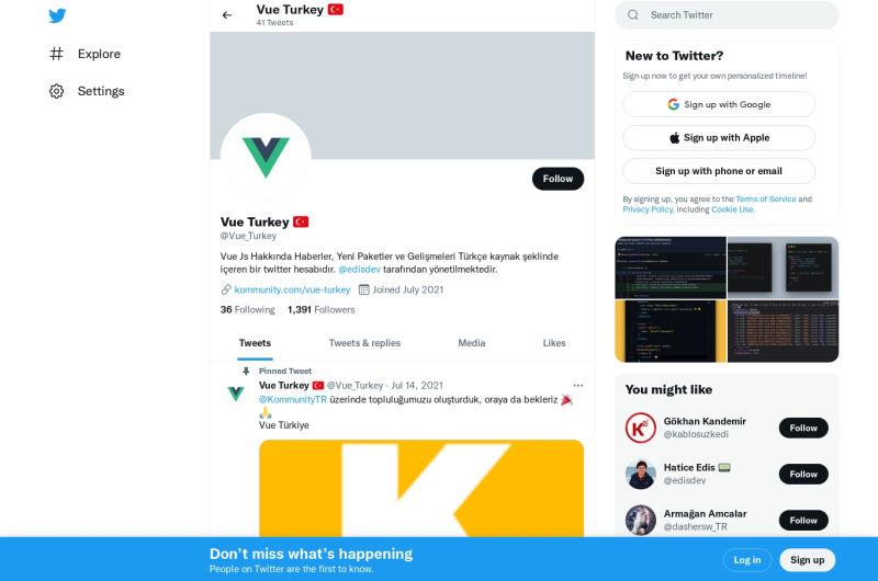 Vue Turkey - Twitter Account